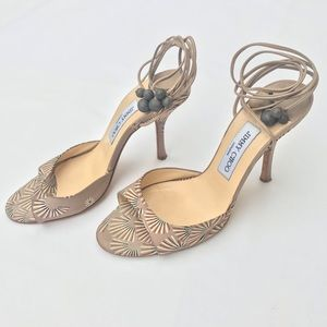 JIMMY CHOO Strappy Ankle Wrap Heels Sandals 39